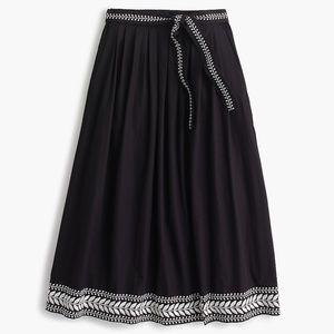 [J. Crew] Black Embroidered Pockets Midi Skirt